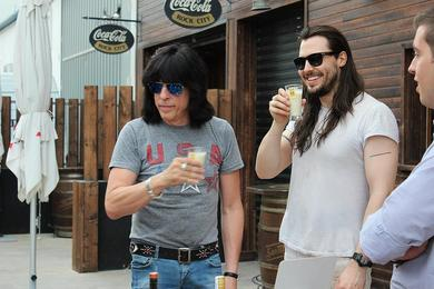 Marky Ramone drinking tigernut horchata before a concert